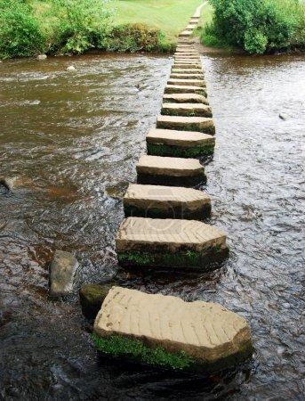 Photo pour Vue verticale de stepping stones rivière traversée - image libre de droit