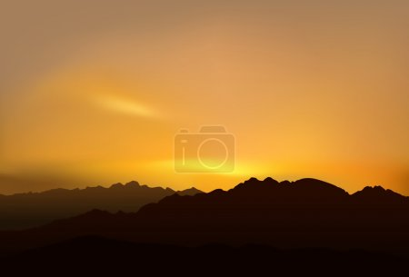 Illustration for Realistic vector illustration of mountains over picturesque sunset. - Royalty Free Image
