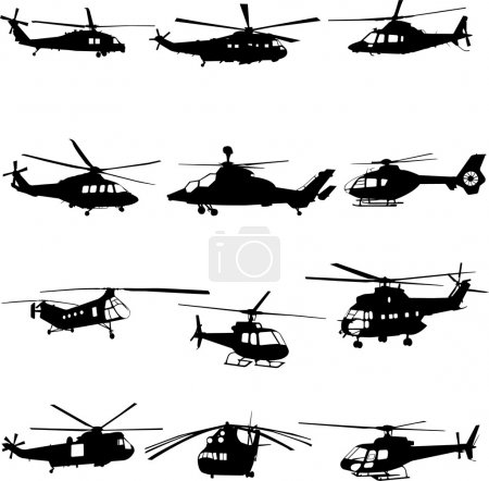 Illustration for Collection of helicopter vector - Royalty Free Image