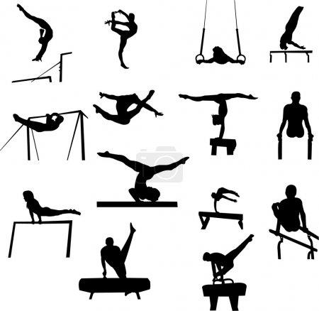 Illustration pour Collection gymnastique - vecteur - image libre de droit