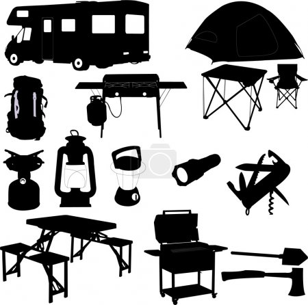 Illustration for Camping equipment - vector - Royalty Free Image