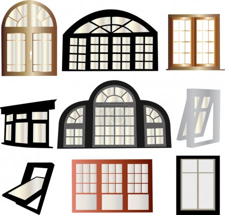 Illustration for Window collection silhouette - vector - Royalty Free Image