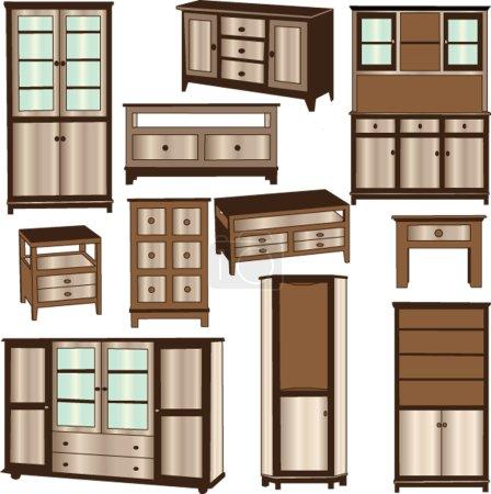 Illustration pour Collection commodes - vecteur - image libre de droit