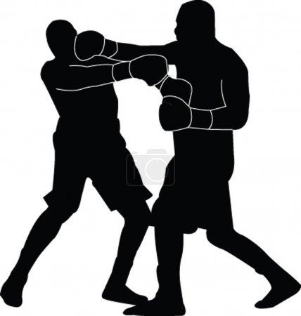 Boxing match silhouette