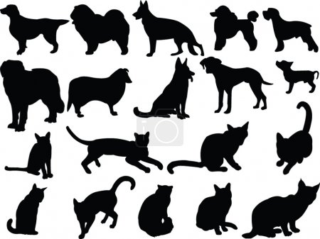 Illustration for Cats and dogs silhouette collection - vector - Royalty Free Image