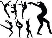 Gymnastics girls silhouette collection
