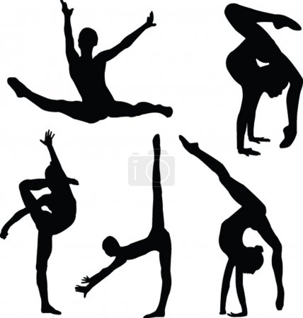 Gymnastics girl silhouette collection