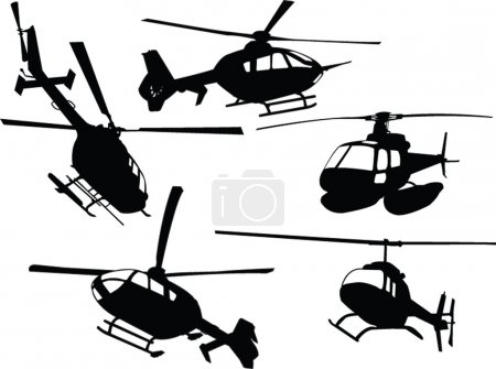 Illustration for Helicopters collection - vector - Royalty Free Image
