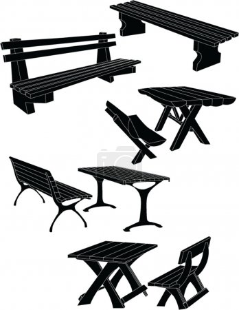 Tables and bench in the park 2