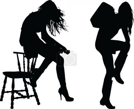 Two girls silhouette