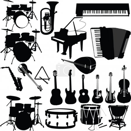 Illustration for Musical instruments - vector - Royalty Free Image