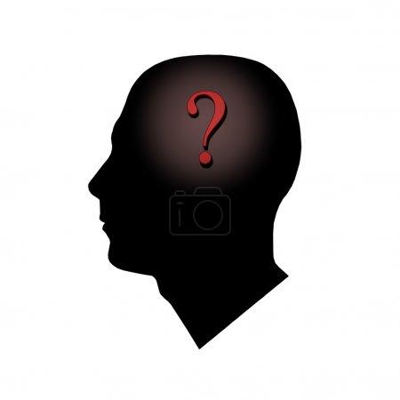 Photo for A question mark inside of a man's head. - Royalty Free Image