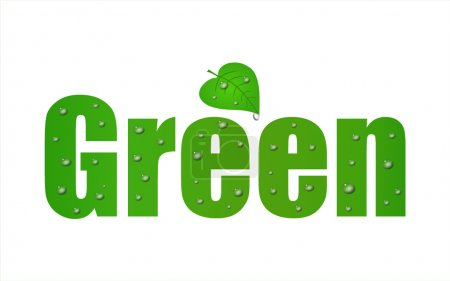 Illustration for Go Green Leaf with a a white background. - Royalty Free Image