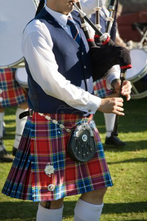 Photo for Close up of a piper from a Scottish pipe band, photographed at the Pitlochry Highland Games - Royalty Free Image