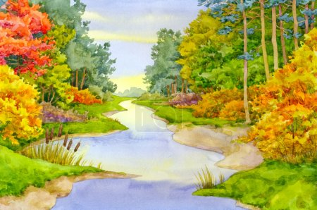 Photo for Watercolor landscape. In the autumn forest creek flows - Royalty Free Image