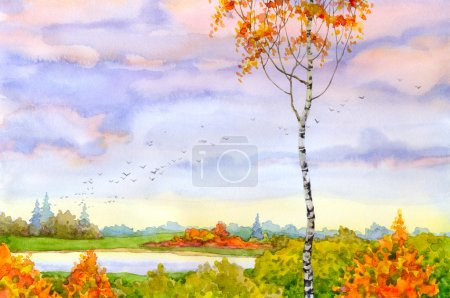 Photo for Water colour landscape. The lonely birch looks at autumn distances - Royalty Free Image