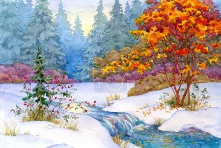 Photo pour Aquarelle paysage. dans la forêt, la première neige est tombée - image libre de droit