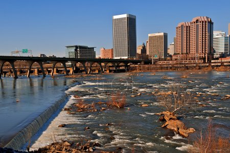 Richmond, Virginia and the James River.