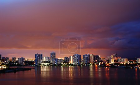 Photo for Night view on Aventura from Sunny Isles Beach over Intercoastal Waterway - Royalty Free Image