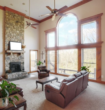 Living Room Interior With High Ceiling