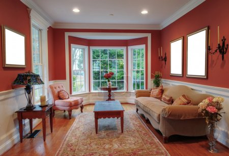 Photo for View of a traditional living room with a bay window in the background. Horizontal format. - Royalty Free Image