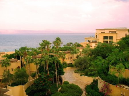 Dead Sea. Coast of Jordan and Israel.