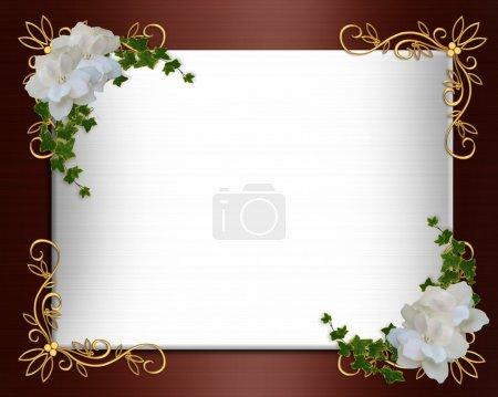 Foto de Composición de imagen y la ilustración de fondo, frontera, invitación de boda formal satén Burdeos o plantilla con acentos de oro, las gardenias blancas, espacio de copia - Imagen libre de derechos
