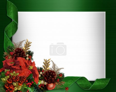 Photo for Image and Illustration composition for Christmas holiday background, border, satin formal template with poinsettias, ribbons, copy space - Royalty Free Image
