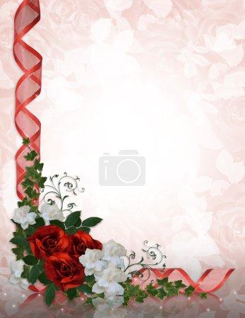 Photo pour Image et illustration composition avec gardenias roses rouges, blanches pour la frontière de carte de voeux, faire-part de mariage, Saint Valentin fond copie espace, - image libre de droit