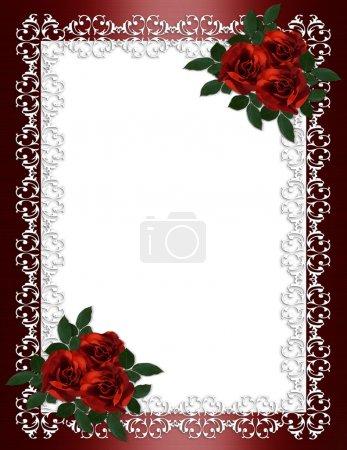 Photo pour Roses de cadre ornemental, rouge en Bourgogne satin pour frontière, mariage, invitation de fête de fiançailles ou arrière-plan avec espace copie. - image libre de droit