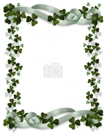 Photo for 3D Illustration for St Patricks Day Card, Irish wedding invitation, background, border or frame with shamrocks and satin ribbons with copy space - Royalty Free Image