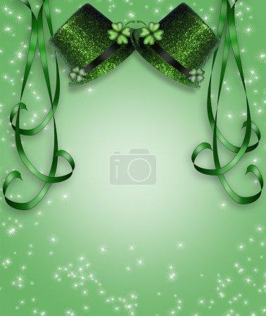 Photo pour Illustration 3D pour la St Patricks Day Carte, fond, bordure ou invitation avec rubans, chapeaux, trèfles et espace de copie . - image libre de droit