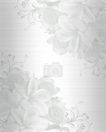 Photo for Illustration embossed flowers design element for Valentine, wedding, birthday, party, invitation on satin background with copy space. - Royalty Free Image