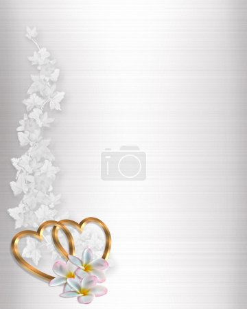 Photo for 3D Illustrated Gold Hearts and flowers design element on white satin for Valentine, wedding invitation background, border or frame with copy space. - Royalty Free Image