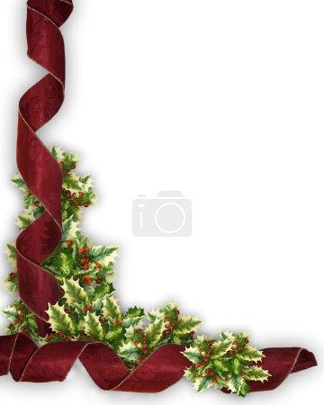 Christmas Border Red ribbon and holly