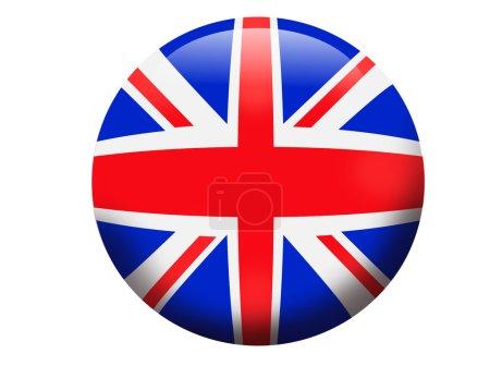 Photo pour Orbe en verre 3 dimensions montrant le drapeau du Royaume-Uni, bouton de bannière Angleterre isolé sur blanc - image libre de droit