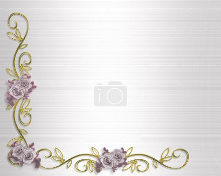 Roses Border Lavender Wedding Invitation