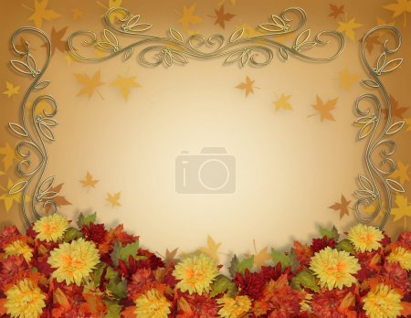 Thanksgiving Fall Leaves Flowers border