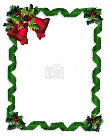 Christmas border Holly bells and ribbons