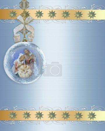 Photo pour Crèche de Noël de la Sainte famille pour carte de voeux religieux ou fond en verre ornement, espace copie - image libre de droit