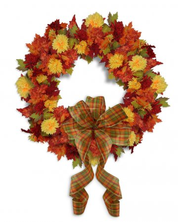 Photo for Image and Illustration composition for Autumn, Fall, Halloween or Thanksgiving wreath background with leaves, flowers and copy space. - Royalty Free Image