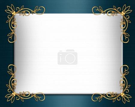 Photo pour Composition de l'illustration pour arrière-plan, bordure, invitation de teal bleu satin mariage formel ou modèle avec des accents d'or, espace copie - image libre de droit