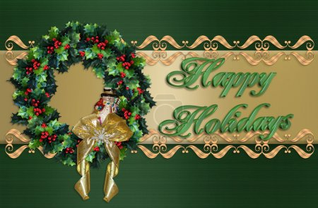 Photo for Image and Illustration composition for Christmas holiday wreath border or background, green satin, gold accents, 3D text - Royalty Free Image