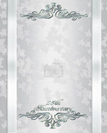 Photo pour Composition de l'image et l'illustration, lierre sur blanc satin pour fond, bordure, cadre, 25e anniversaire de mariage, modèle invitation avec espace copie. - image libre de droit
