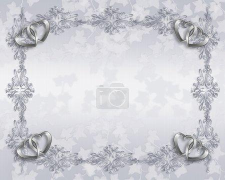 Wedding invitation elegant hearts border