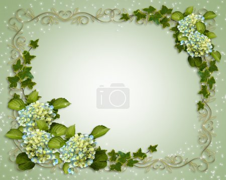 Photo for Ivy, Hydrangea flowers for background, border, frame, wedding invitation or template with copy space. - Royalty Free Image