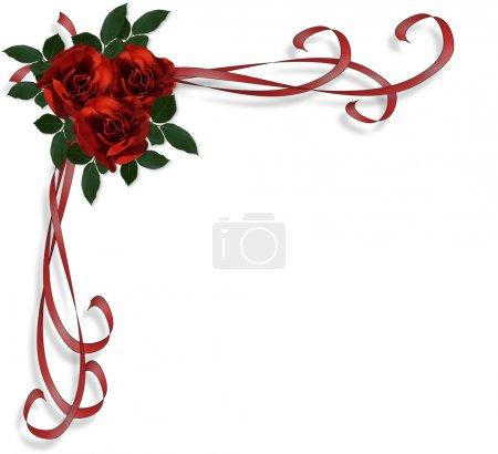 Photo pour Arrière-plan, bordure ou cadre de mariage avec des roses rouges, rubans de satin et de l'espace de la copie. - image libre de droit
