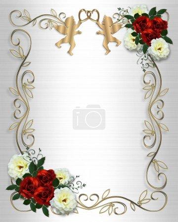 Photo pour Bordure d'invitation Saint-Valentin ou de mariage ou du cadre sur fond de satin blanc avec des roses, angelots, espace copie. - image libre de droit