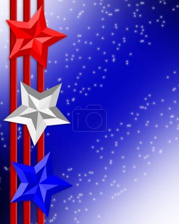 4th of July Patriotic border stars