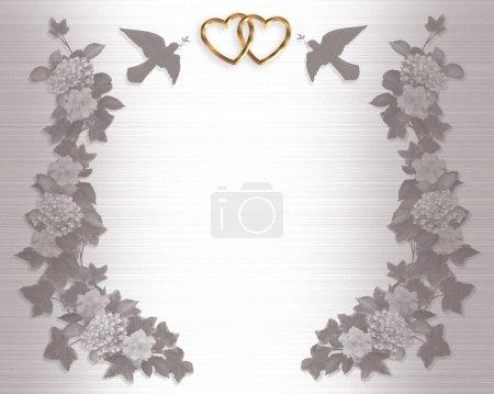 Photo pour Fleurs de composition en relief illustration et élément de conception border de lierre pour la Saint-Valentin, fond invitation mariage avec espace copie. - image libre de droit